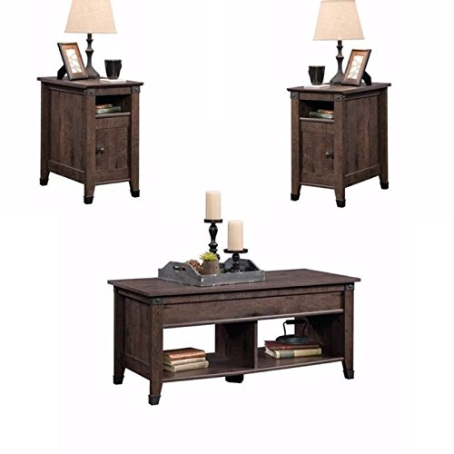 Home Square Rustic 3 Piece Coffee Table and End Table Sets in Oak Brown