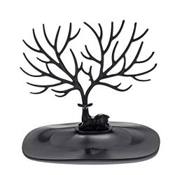 Yezijin Home Decor, Creative Little Deer Jewelry Display Storage Rack Antlers Storage Tree (Black)
