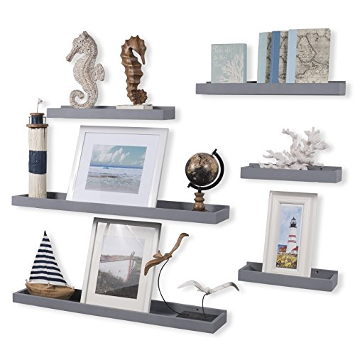 Wallniture Philly Set of 6 Varying Sizes Floating Shelves Trays Bookshelves and Display Bookcase ...