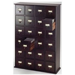 Bowery Hill 40″ 24 Drawer CD Media Storage Cabinet in Espresso