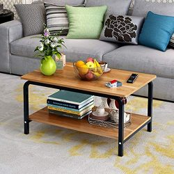 Modern Large Coffee Table with Lower Storage Shelf for Living Room, 32″ x 20″ (Natur ...