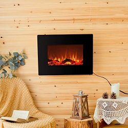 FLAME&SHADE Wall Mounted Electric Fireplace Portable Heater Linear 22 inch Flat Panel Free S ...