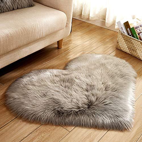 Hot Sale!DEESEE(TM)Wool Imitation Sheepskin Rugs Faux Fur Non Slip Bedroom Shaggy Carpet Mats (A)
