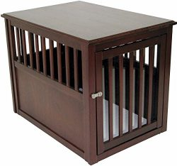 Crown Pet Products Pet Crate Wood Dog Crate Furniture End Table, Medium Size with Espresso Finish