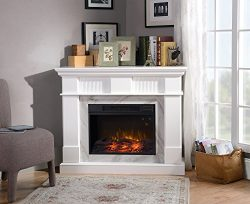 Homestar ZK1GENOVA Genova Media Fireplace in Glossy Matte White