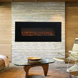 KUPPET 50″ Wall Mounted Electric Fireplace, 1500W Adjustable Fireplace Heater Linear Firep ...