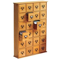 Multimedia Storage Cabinet Library Card Catalog Sewing Apothecary Craft Organizer Wood (Oak)