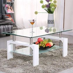 Mecor Rectangle Glass Coffee Table-White Modern Side Coffee Table with Lower Shelf Wooden Legs-S ...