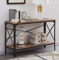 Homissue 2 Shelf Industrial Vintage Hall Sofa Table, Rectangular Console Sofa Entry Table with L ...