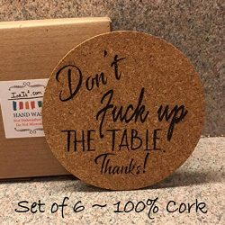 Set of 6 – Super Absorbent Cork Coasters for Hot or Cold Drinks. Handmade – Perfect Housew ...