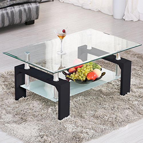 Mecor Rectangle Glass Coffee Table-Modern Side Coffee Table with Lower Shelf Black Wooden Legs-S ...