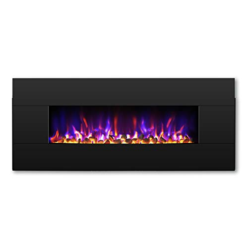 TURBRO Reflektor 42″ 1400W Electric Fireplace Wall Mounted, Freestanding Fireplace Heater  ...