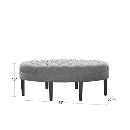 Madison Park Martin Oval Surfboard Tufted Ottoman Large – Soft Fabric, All Foam, Wood Fram ...