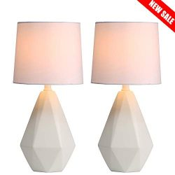 SOTTAE Modern Ceramic Small White Irregular Geometric Livingroom Bedroom Bedside Table Lamp,Cute ...