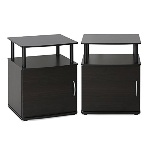 Furinno 2-15114BKW End Table Two, Black Wood