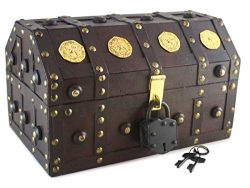 Well Pack Box Treasure Chest Pirate 11″x 7″x 6″ Lock Skeleton Keys Doubloon Ac ...