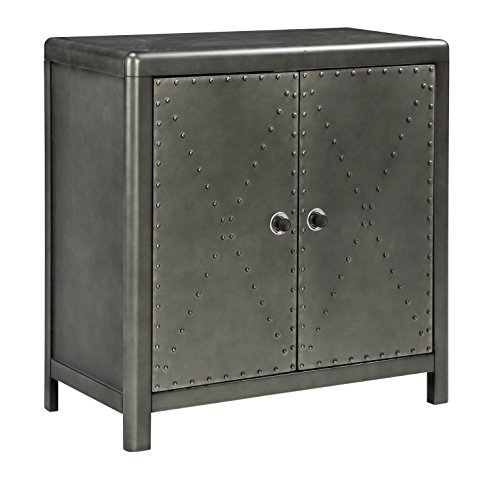 Ashley Furniture Signature Design – Rock Ridge 2-Door Accent Cabinet – Antique Gunme ...