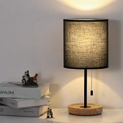 Nightstand Lamp, Contemporary Bedside Table Lamp, Black Metal Base Desk Lamp with Fabric Shade f ...
