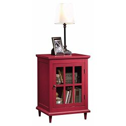 Pemberly Row Accent Curio Cabinet in Berry Red