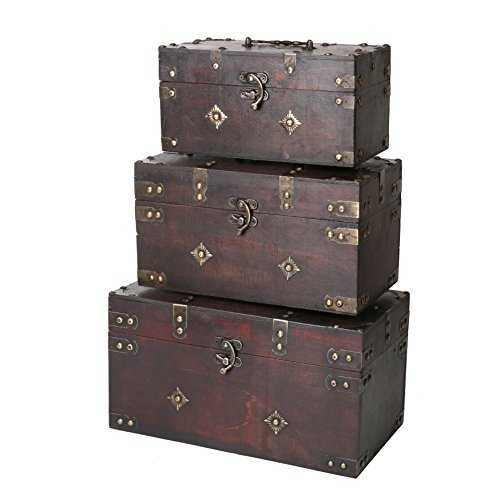 SLPR Montgomery Wooden Boxes (Set of 3, Brown) | Decorative Wooden Chest with Metal Elements Tre ...