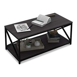WLIVE X-Frame Coffee Table with Shelf, Sofa Table for Living Room, Metal Frame