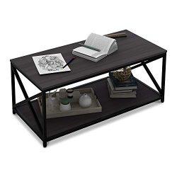 WLIVE X-Frame Coffee Table with Shelf, Sofa Table for Living Room, Metal Frame