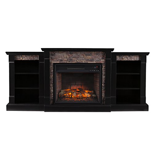 Southern Enterprises Ganyan Infrared Electric Fireplace with Bookcase, Black Finish with Faux Stone