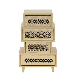 Deco 79 82183 Four-Drawer Asymmetrical-Shaped Jewelry Chest 13″ x 8″ Palegold/Black