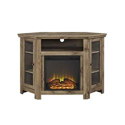 W. Designs Walker Edison Jackson Collection W48FPCRBW 48″ Wood Corner Media TV Stand Conso ...