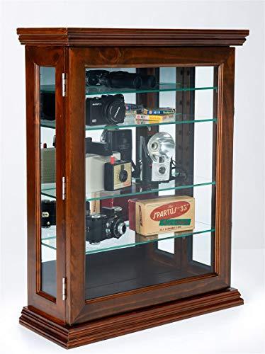 Displays2go Counter or Wall Curio Cabinet w/Mirror Back – Dark Cherry (DCC2128CH)