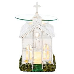 White Church Poly Resin Electric Oil Warmer – Tart Burner – Scented Aromatherapy Oil ...