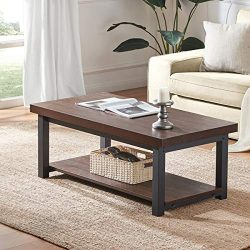 DYH Rustic Coffee Table, Wood and Metal Rectangular Cocktail Table with Shelf for Living Room, F ...