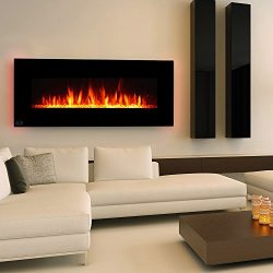 Clevr 48″ Adjustable Electric Wall Mount Fireplace Heater, 750-1500W Mordern Black Heat, D ...