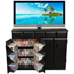 Venture Horizon Media Cabinet with Drawers- Black