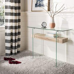 Safavieh CNS7001A Home Collection Kayley Clear and Natural Rectangular Modern Glass Console Table