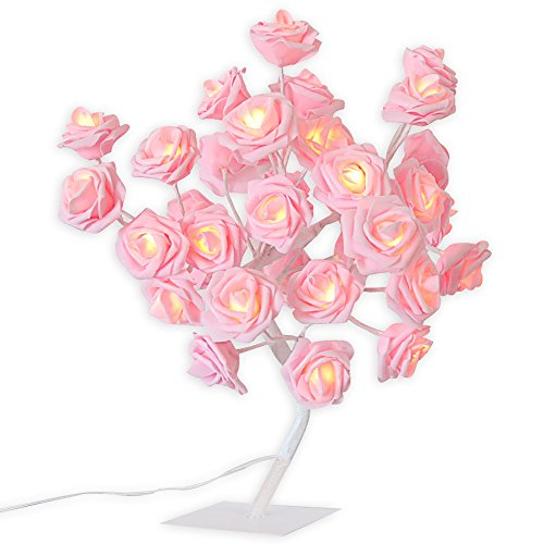 Nacome Rose Table Lamp Flower Desk Lamp Pink Girls Lamp Bedside Lamp Tree Light with AC Adapter  ...