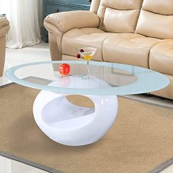 Mecor Glass Coffee Table with Round Hollow Shelf-Modern Oval Design End Side Coffee Table with T ...