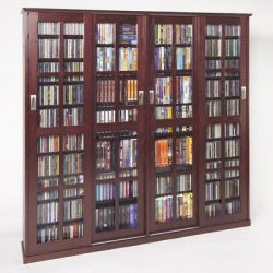 Leslie Dame MS-1400DC Mission Style Multimedia Storage Cabinet with Sliding Glass Doors, Cherry