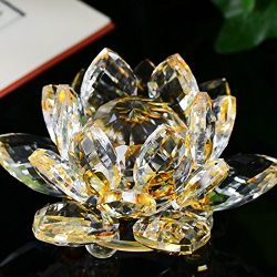Hot Sale!DEESEE(TM)4 Colors Lotus Crystal Glass Figure Paperweight Ornament Feng Shui Decor Coll ...