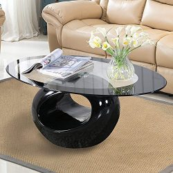 Mecor Black Oval Glass Coffee Table with Round Hollow Base-Modern End Side Coffee Table for Home ...