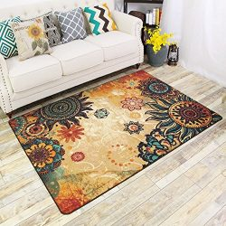 FADFAY Contemporary Boho Retro Style Living Room Floor Carpets,Non-Skid Indoor/Outdoor Vintage A ...