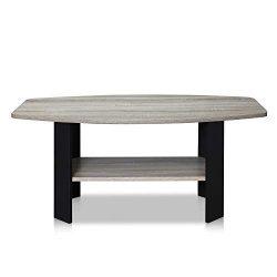 Furinno 11179GYW/BK Coffee Table French Oak Grey/Black