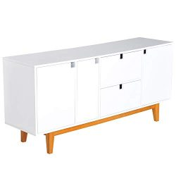 "HOMCOM 57"" Two Tone Contemporary Sideboard Buffet Table Storage Cabinet – White"