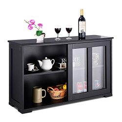 Costzon Kitchen Storage Sideboard, Antique Stackable Cabinet for Home Cupboard Buffet Dining Roo ...