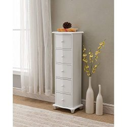 White Wood Accent Display Chest Cabinet with 5 Storage Drawers