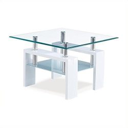 Global Furniture Clear/Frosted Occasional End Table with Glossy White Legs