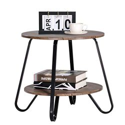 Vintage 2 Tiers Living Room End Table Modern Industrial Nightstands for Bedroom Round Sofa Side  ...