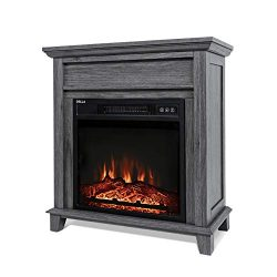 DELLA 18″ 1400W Freestanding Portable 3D LED Electric Firebox Fireplace Mantel Heater Real ...