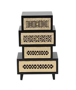 Deco 79 82187 Rectangular Wooden Jewelry Chest 13″ x 8″ Black/Off-White