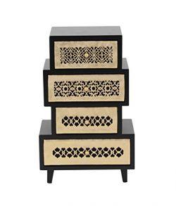 Deco 79 82187 Rectangular Wooden Jewelry Chest 13″ x 8″ Black/Off-White